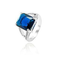 Anel Folheado Ródio com Cristal Quadrado Azul Marinho e Micro Zircônia Cristal
