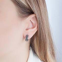 Brinco Argola Pequeno Folheado Ródio Negro com 3 Fileiras de Micro Zircônia Negra