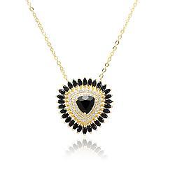 Colar Folheado Ouro 18K com Cristal Negro Triangular, Micro Zircônia Cristal e Navetes Cristal Negro