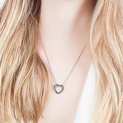 Colar Coração Folheado Ródio Negro com Micro Zircônia Negra