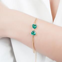 Pulseira Folheada Ouro 18K Laço com Coração Cristal Turmalina Verde