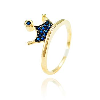 Anel Coroa Folheado Ouro 18K com Detalhe de Micro Zircônia Azul Marinho