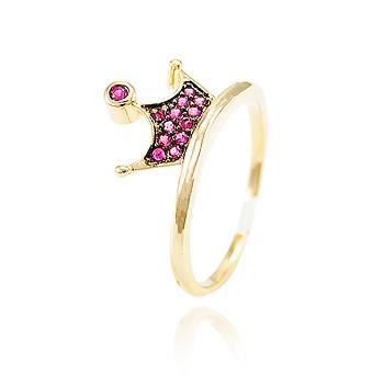 Anel Coroa Folheado Ouro 18K com Detalhe de Micro Zircônia Pink