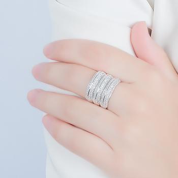 Anel Triplo Folheado Ródio Cravejado com Micro Zircônia Cristal