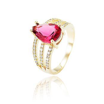 Anel Folheado Ouro 18K com Cristal Gota Pink e Micro Zircônia Cristal