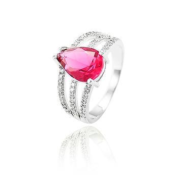 Anel Folheado Ródio com Cristal Gota Pink e Micro Zircônia Cristal