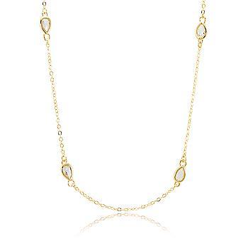 Colar Tiffany Folheado Ouro 18K com Gota Cristal