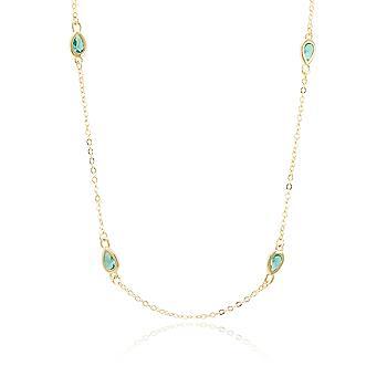 Colar Tiffany Folheado Ouro 18K com Cristal Gota Azul Claro