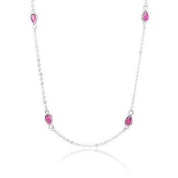 Colar Tiffany Folheado Ródio com Cristal Gota Pink