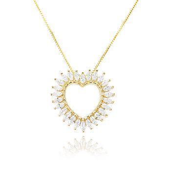 Colar Coração Folheado Ouro 18K com Navete Cristal