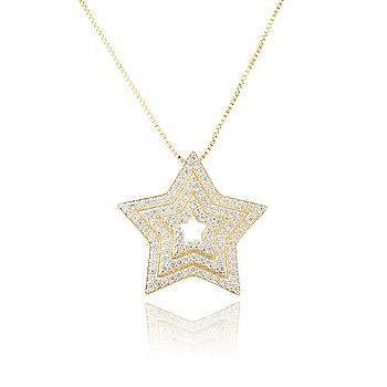 Colar Estrela Folheado Ouro 18K com Micro Zircônia Cristal