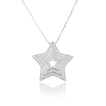Colar Estrela Folheado Ródio Branco com Micro Zircônia Cristal