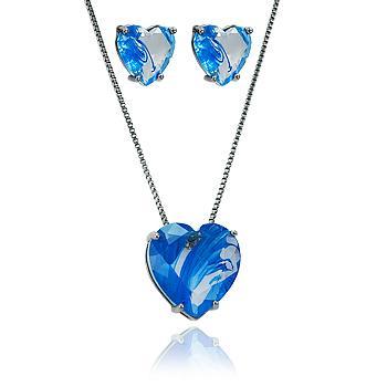 Conjunto Coração Folheado Ródio Negro com Cristal Azul Rutilado
