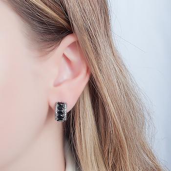 Brinco Argola Folheado Ródio Negro com Cristal Oval Negro e Micro Zircônia Cristal