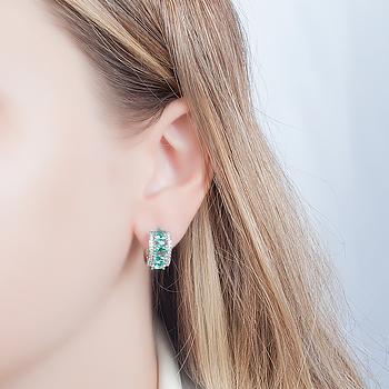 Brinco Argola Folheado Ródio com Cristal Oval Turmalina Verde e Micro Zircônia Cristal