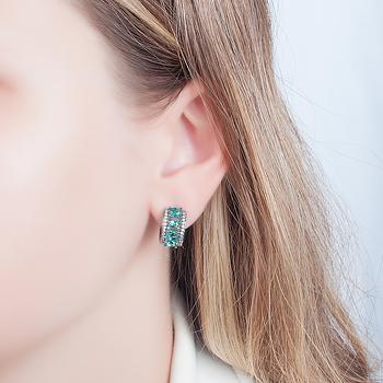Brinco Argola Folheado Ródio Negro com Cristal Oval Turmalina Verde e Micro Zircônia Cristal