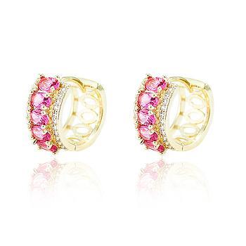 Brinco Argola Folheado Ouro 18K com Cristal Oval Pink e Micro Zircônia Cristal