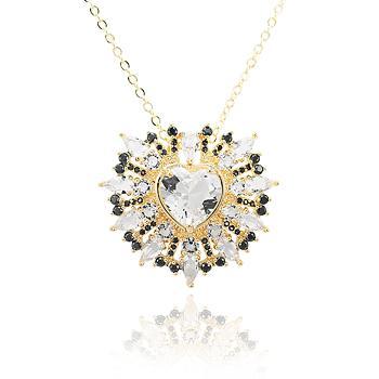 Colar Folheado Ouro 18K com Coração Cristal e Micro Zircônia Negra e Cristal
