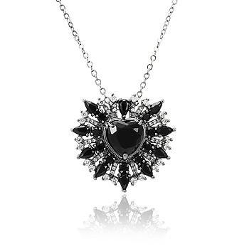 Colar Folheado Ródio Negro com Coração Cristal Negro e Micro Zircônia Cristal