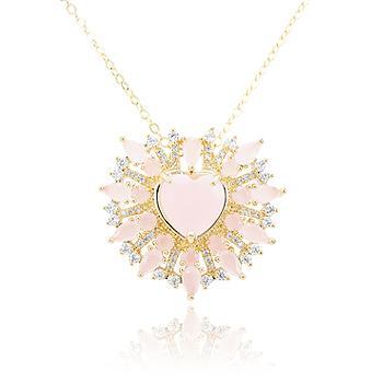 Colar Folheado Ouro 18K com Coração Cristal Rosa Leitoso e Micro Zircônia Cristal