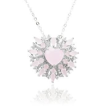 Colar Folheado Ródio com Coração Cristal Rosa Leitoso e Micro Zircônia Cristal