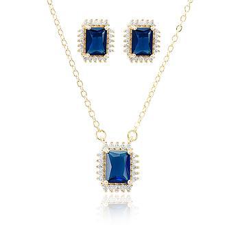 Conjunto Folheado Ouro 18K com Cristal Retangular Azul Marinho e Micro Zircônia Cristal