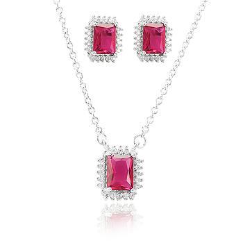 Conjunto Folheado Ródio com Cristal Retangular Pink e Micro Zircônia Cristal