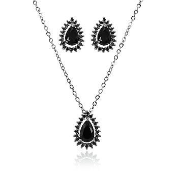 Conjunto Folheado Ródio Negro com Gota Cristal Negro e Micro Zircônia Negra