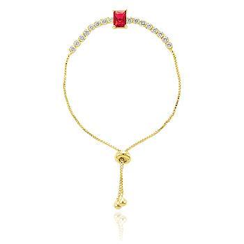 Pulseira Riviera Folheada Ouro 18K com Cristal Retangular Pink e Zircônia Cristal
