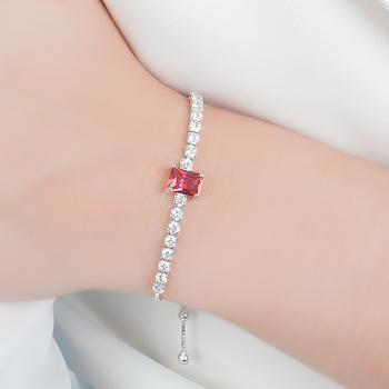 Pulseira Riviera Folheada Ródio com Cristal Retangular Pink e Zircônia Cristal