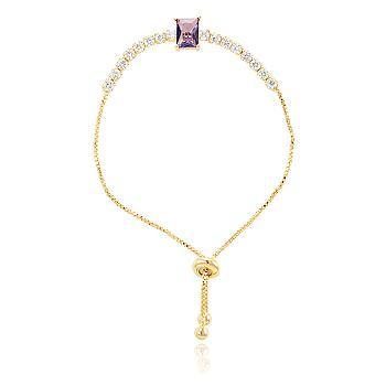 Pulseira Riviera Folheada Ouro 18K com Cristal Retangular Ametista e Zircônia Cristal
