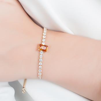 Pulseira Riviera Folheada Ouro 18K com Cristal Retangular Morganita e Zircônia Cristal