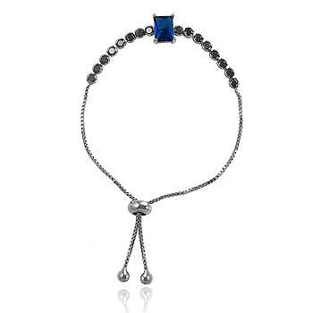 Pulseira Riviera Folheada Ródio Negro com Cristal Retangular Azul Marinho e Zircônia Negra