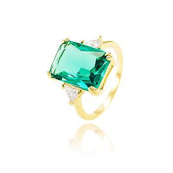 Anel Folheado Ouro 18K com Cristal Retangular Turmalina Verde Coleção CANDY COLORS