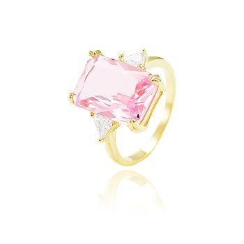Anel Folheado Ouro 18K com Cristal Retangular Rosa Coleção CANDY COLORS