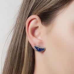 Brinco Folheado Ródio Negro com Micro Zircônia e Pedra Fusion Azul Marinho