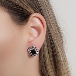 Brinco Folheado Ródio Negro com Micro Zircônia e Cristal Negro