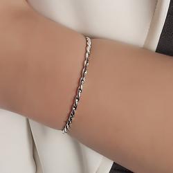 Bracelete Retorcido Folheado Ródio
