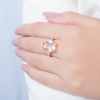 Anel Folheado Ouro 18K com Cristal Retangular Morganita Coleção CANDY COLORS