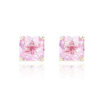 Brinco Quadrado Folheado Ouro 18K com Cristal Rosa Coleção CANDY COLORS