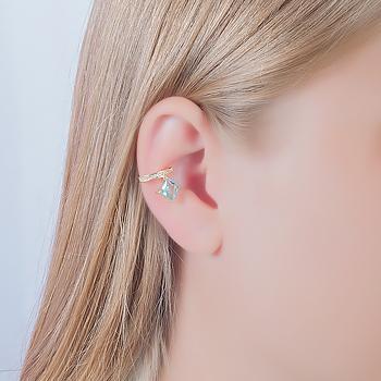 Piercing Fake Folheado Ouro 18K com Cristal Quadrado Aquamarine Coleção CANDY COLORS