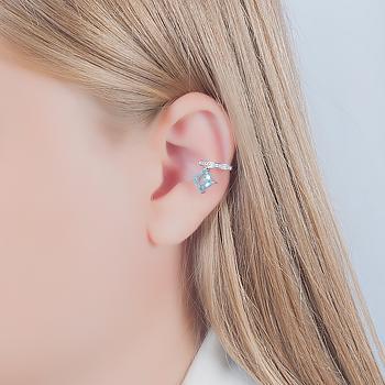 Piercing Fake Folheado Ródio com Cristal Quadrado Aquamarine Coleção CANDY COLORS