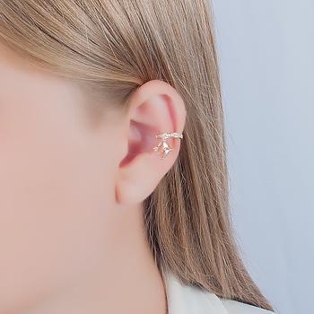 Piercing Fake Folheado Ouro 18K com Cristal Quadrado Morganita Coleção CANDY COLORS