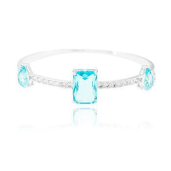 Bracelete Folheado Ródio com Cristal Retangular e Gota Aquamarine Coleção CANDY COLORS