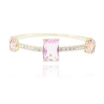Bracelete Folheado Ouro 18K com Cristal Retangular e Gota Rosa Coleção CANDY COLORS