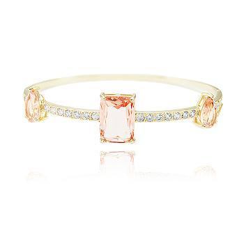 Bracelete Folheado Ouro 18K com Cristal Retangular e Gota Morganita Coleção CANDY COLORS