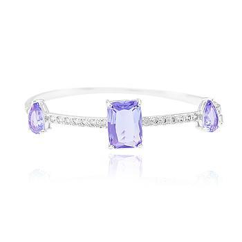 Bracelete Folheado Ródio com Cristal Retangular e Gota Violet Coleção CANDY COLORS