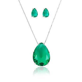 Conjunto Gota Folheado Ródio com Cristal Turmalina Verde