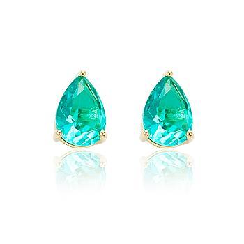 Brinco Gota Folheado Ouro 18K com Cristal Turmalina Verde