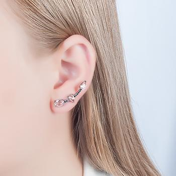 Brinco Ear Cuff Folheado Ródio Negro com Cristal Gota e Oval Morganita e Micro Zircônia Negra